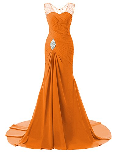 Lily Wedding Womens Mermaid Prom Bridesmaid Dresses 2018 Long Evening Formal Party Ball Gowns FED003 Orange Size20 Plus