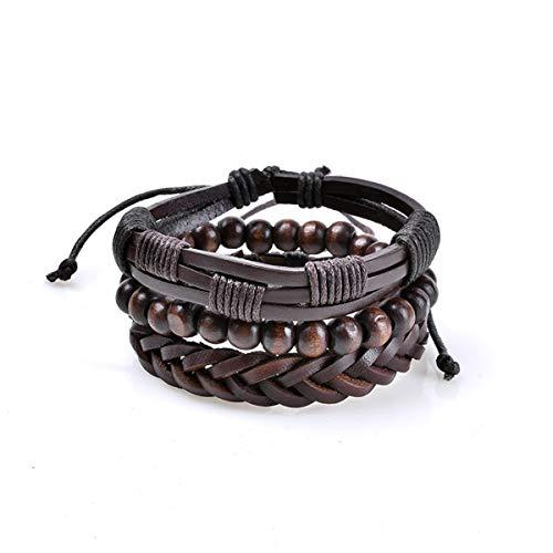 Chain Bracelet Bangle,Jewelry Matching Set,Punk Genuine Wrap Leather Bracelets Men Women Onyx Lava Hematite Jewelry Accessories Wholesale DIY Stone Beads Bangles DH1428 from JG-Bracelet