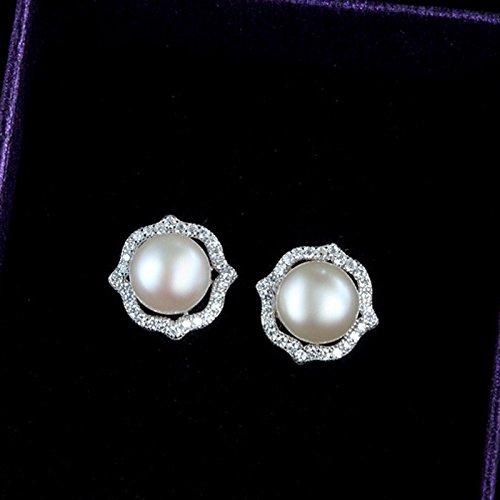 TKHNE s925 silver stud earrings women girls and Creative Light extravagant flower Micro Pave freshwater pearl earrings fashion earrings ()