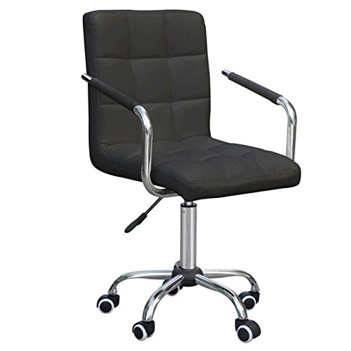 Durable PU Leather Executive Mid Back Home Office Dining Room Chair Computer Desk Task Hydraulic Electroplating steel Black #1035 (Outdoor Furniture Cushions Fl Naples)