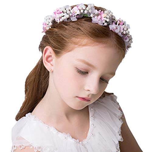 Shirley Floral Hair Wreath Head Accessory Outdoors Indoors Christmas Decoration Artificial Party Girl Garland Headwear (Color : ()