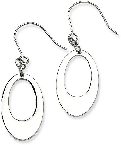 Stainless Steel Polished Cutout Oval Dangle Earrings