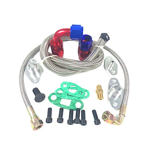 Single Turbo Oil Feed Line Kit Flange For Toyota Supra 1JZGTE 2JZGTE 1JZ/2JZ