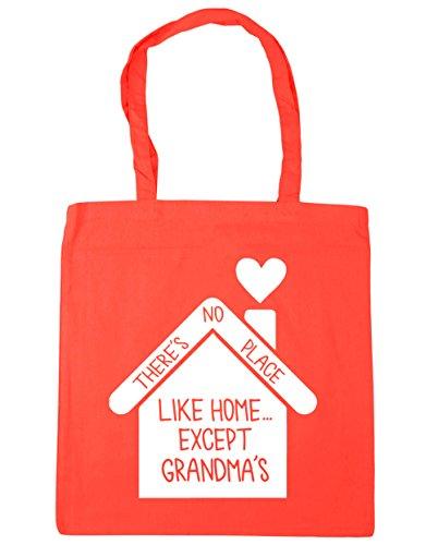 HippoWarehouse no hay lugar como en casa... de excepto la abuela bolsa de la compra bolsa de playa 42cm x38cm, 10litros Coral