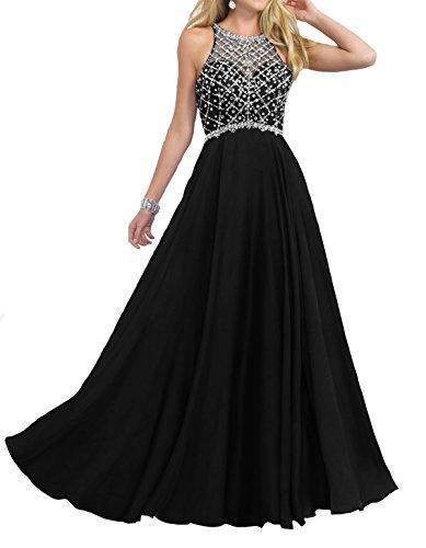 Firose Women's Scoop Neckline Beaded Long Chiffon Prom Dresses For 2018 Black US16 Black Beaded Halter