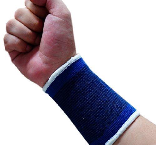COPPIA 2x Supporto elastico Tutore fascia elastica blu per polso Sport Caringa™ polsino morbido tutore ortopedico palestra lavabile - coppia polsino - coppia supporto polsi fascia Tennis fasce elastiche - elastico wrist