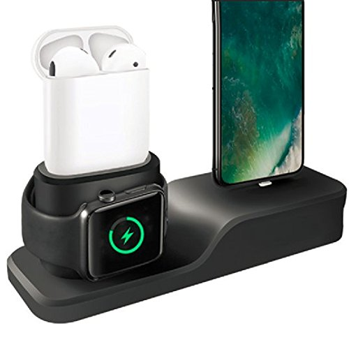 Apple Watch Stand,3 in 1 Silicone Airpods Charging Stand/Charging Dock Holder/Apple Watch Charging Station Compatible with Apple Airpods/All Series Watch/iPhone X/8/8 Plus/7/7 Plus/6s Plus - Black