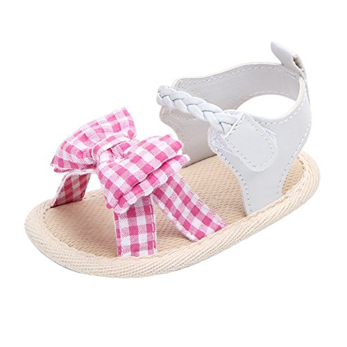 (Weixinbuy Toddler Baby Girls' Soft Sole Bowknot Summer Sandals Outdoors Shoes (7-12 Months/4.92inch, Pink Plaid))