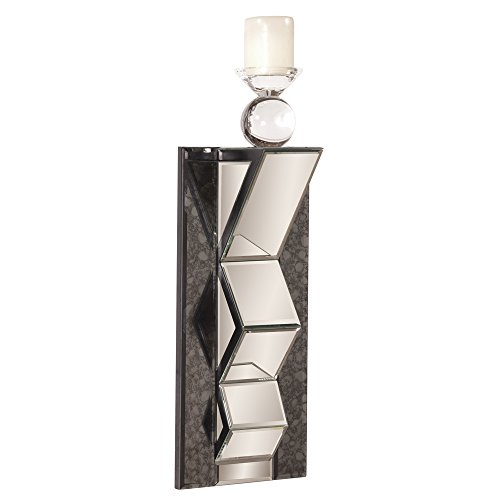 Howard Elliott 99040 Stepped Mirror with Cut Glass Wall Sconce
