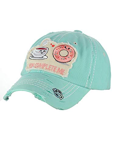 NYFASHION101 Women's Distressed Unconstructed Embroidered Baseball Cap Dad Hat, You Complete Me, Mint