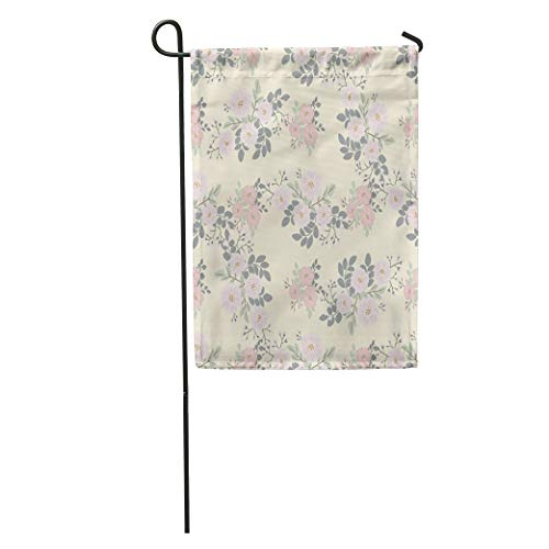 (Semtomn Garden Flag Folk Pattern in Small Wildflowers Country Millefleurs Shabby Chic Colors Home Yard House Decor Barnner Outdoor Stand 28x40 Inches Flag)