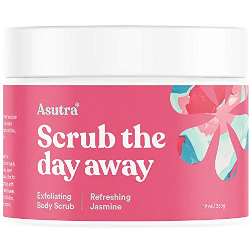 Asutra, Organic Exfoliating Body Scrub, Refreshing Jasmine, 100% Dead Sea Salt Scrub, Ultra Hydrating and Moisturizing Scrub, Skin Smoothing Jojoba, Sweet Almond, and Argan Oils, 12 oz. Jar