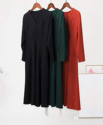 Cocktail Donne Eleganti Autunno Midi a da Primavera Manica Festa Vestiti Abito con Cintura Collo Moda V Pieghe Partito Vestito Lunga Nero Abiti RSdAn6v