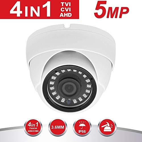 5MP TVI Dome Camera, 4 in 1 TVI/CVI/CVBS/AHD Dome Turret Camera, 3.6mm Lens, IP66, 18 IR LEDs, 15m Night Vision, CCTV Dome Cameras