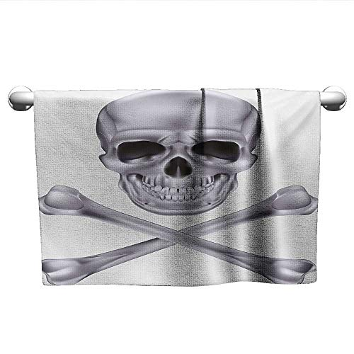Grey,Decorative Towels Vivid Skull and Crossed Bones Dangerous Scary Dead Skeleton Evil Face Halloween Theme Eco-Friendly Dimgray W 35