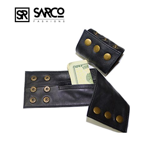 (Sarco Fashions Genuine Leather Wristband Bracelet Money Wallets Hidden Cuffs Unisex Wallet Band Small Size Fits Wrist 7-8