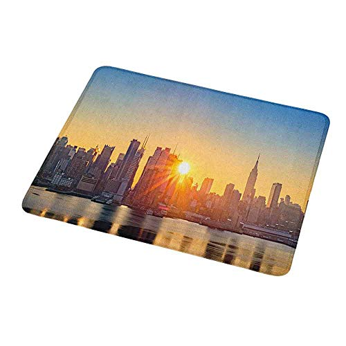 Gaming Mouse Pad Custom Design Mat City Tranquil Sunrise at Midtown Manhattan United States NYC Waterfront America Non-Slip Rubber Base Ideal for Keyboard PC and Laptop -