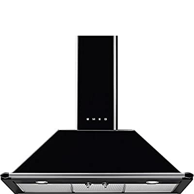 "Smeg 36"" ""Victoria"" Wall Hood, Black 600 CFM, Halogen Lights Circulation"