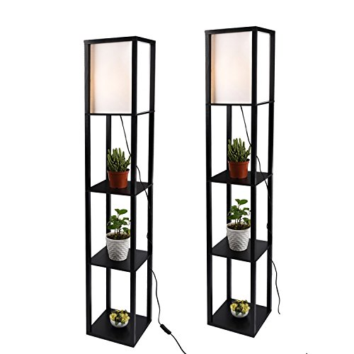 - Shelf Floor Lamp with Linen Shade, UL Listed, Wooden Frame, 63 Inch Height, Switch on/Off, Etagere Organizer Shelf,Set of 2 Black