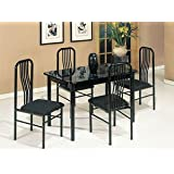 5-pc Pack Hudson Design Faux Marble Top Dining Table Set Acs20406bk