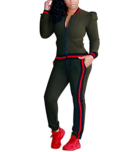 HannahZone Womens 2 Pieces Outfits Long Sleeve Zipper Jacket and Pants Set Tracksuits