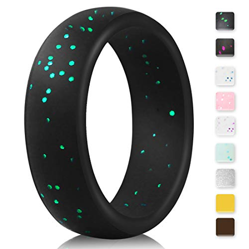 - EMBNN Silicone Wedding Ring for Women Men, Thin, Affordable and Stackable Silicone Wedding Bands for Sports, Workout, Fitness, Exercise, Black with Green Glitters, 5.7mm Wide, Size: 9 (18.9mm)