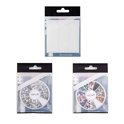 Best Price Professional Manicure Nail Art Salon Quality Tools Accessories Set Kit Including 10pcs Cards Each With 51pcs White Guides Stickers / Strips In 3 Different Shapes For French Nails And Lines Designs / Patterns Application, Wheels With Rhinestones / Crystals Decorations In 12 Different Colors And 1200 Silver Gemstones By VAGA