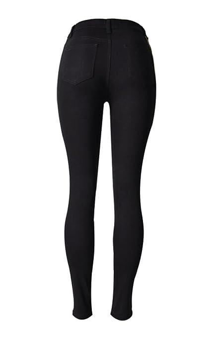 cda9e997f2ebe5 SMITHROAD Damen Skinny Jeanshose Hohe Taile mit Löchern Zerrissen  Taillenjeans mit Stretch Jeans Boyfriend Stil Schwarz Gr.32-44: Amazon.de:  Bekleidung
