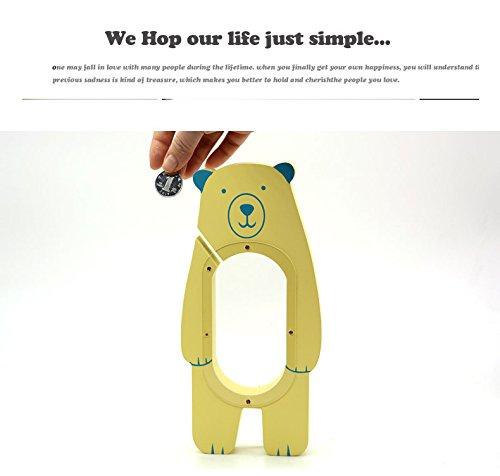 - eSTAR Little Bear Batman Hand Painted Wood Piggy Money Saving Coin Bank for Kids, Birthday Party (Yellow Bear)