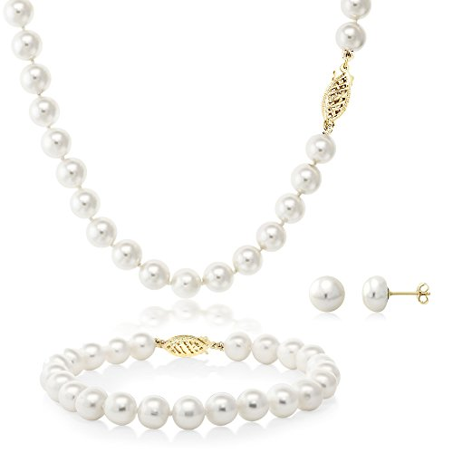 Cultured Freshwater Pearl Necklace, Bracelet and Earring Set In 14K Yellow - Pink Pearl Genuine Earrings Bracelet
