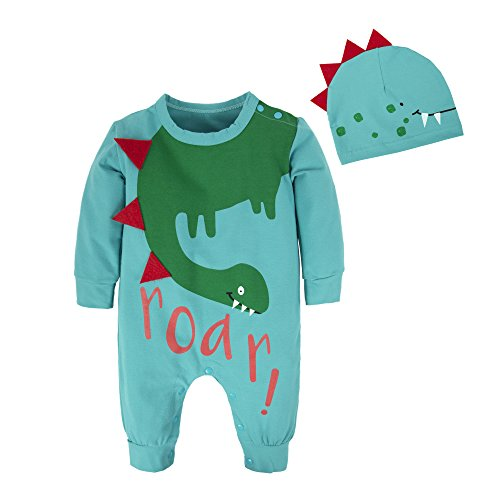 BIG ELEPHANT Baby Boys'2 Pieces Cute Dinosaur Long Sleeve Romper Pajama with Hat Style C T21-59 0-3 (Easter Clothes Baby)