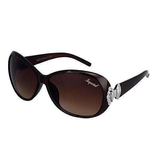 Imperial Club Oval Over-Sized Womens Sunglasses(Wy011|40|Brown)