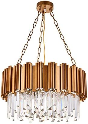 A1A9 Modern Round Crystal Chandelier Lights Luxury Pendant Ceiling Light Contemporary Raindrop Chandeliers Lighting Fixture for Dining Living Room Kitchen Island Bedroom Foyer Hallway Antique Gold