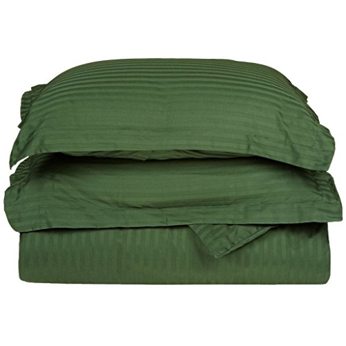 (Combed Cotton 300 Thread Count Twin 2-Piece Duvet Cover Set Stripe, Hunter Green)