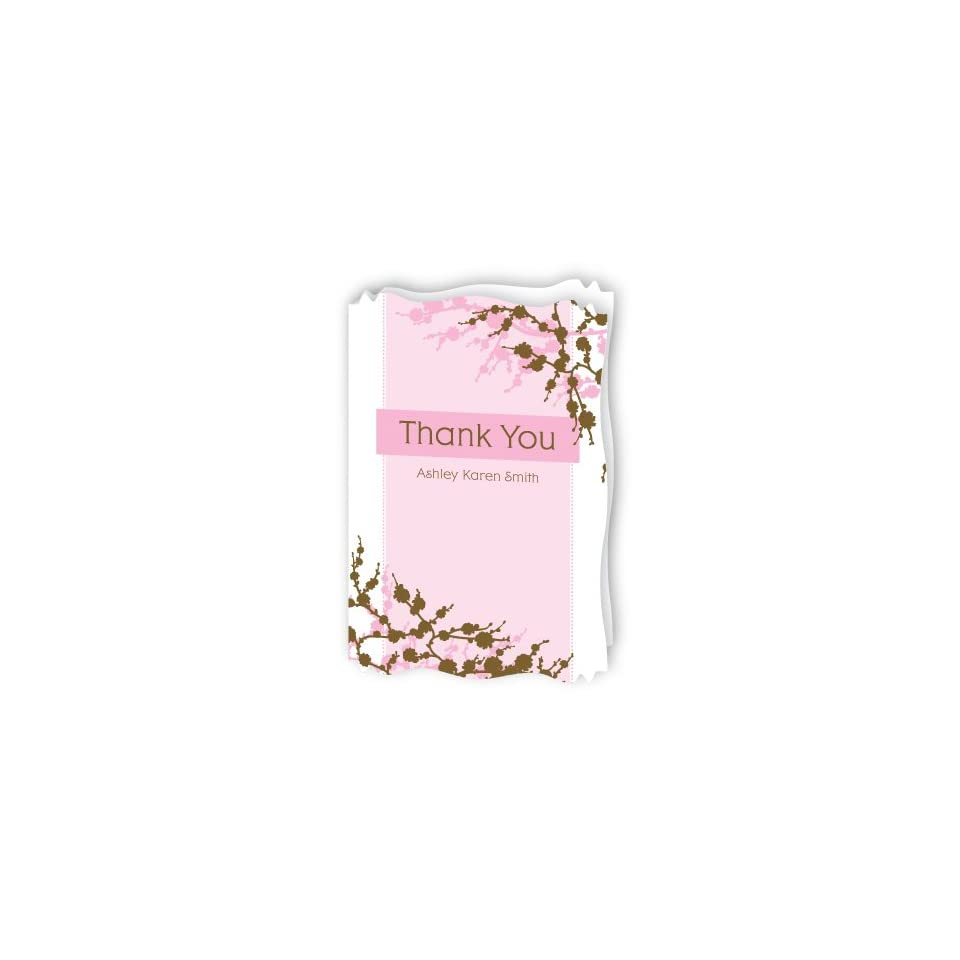 Baby Cherry Blossom   Personalized Baby Thank You Cards With Squiggle Shape