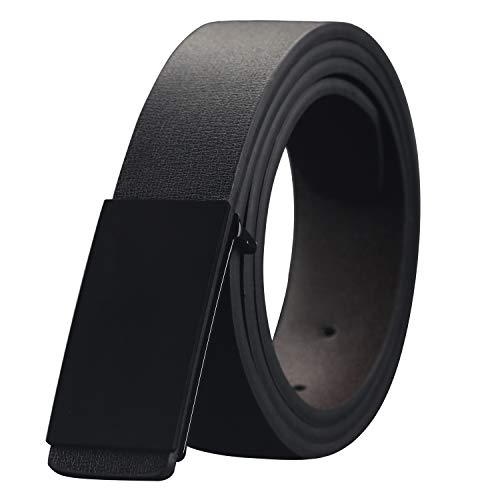 Mens Dress Leather Belt with Plaque Buckle