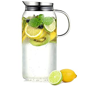 Ecooe Borosilicate Glass Water Pitcher with Stainless Steel Infuser Lid, 44 Ounce