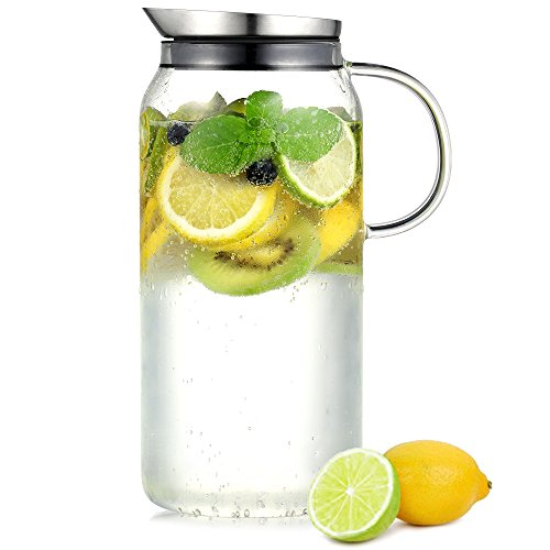 Ecooe Cylindrical 1500ml\50 oz Glass Water Pitcher with Stai