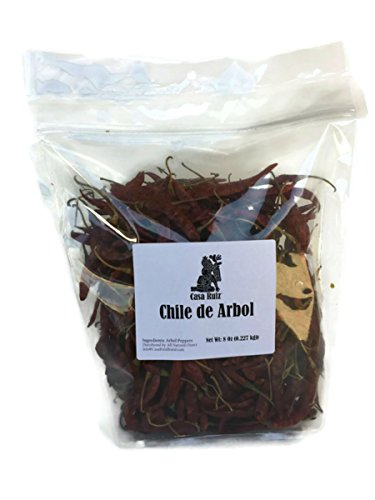 - De Arbol Chile - Casa Ruiz Brand - 8 Oz RESEALABLE Bag - Mexican Whole Dried Arbol Chili Peppers - Tannic Smoky Grassy Bold Spicy Fiery Heat - Mexican Related to Cayenne or Pequin - Pico De Pajaro -
