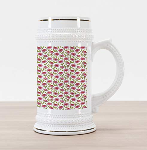 Ambesonne Daisy Beer Stein Mug, Fresh and Organic Echinacea Petals Floral Themed Image Healthy Wildflower Design, Traditional Style Decorative Printed Ceramic Large Beer Mug Stein, Multicolor ()