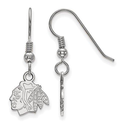Chicago Blackhawks Extra Small (3/8 Inch) Dangle Earrings Wire (Sterling (Chicago Blackhawks Sterling Silver Earrings)