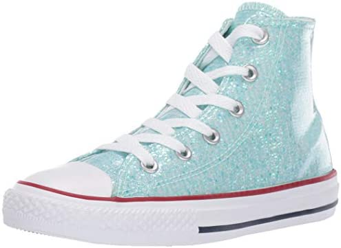 Kids Converse Small Star Hi Canvas Trainers Teal Tint Glitter White Kids