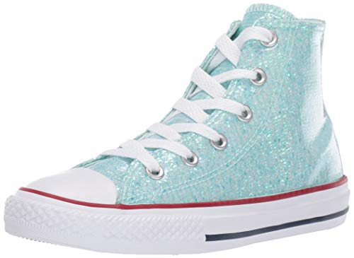 Converse Girls Kids' Chuck Taylor All Star Sport Sparkle High Top Sneaker, Teal Tint/Enamel Red/White 11 M US Little -