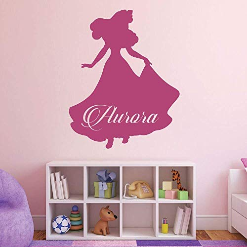 Custom Name Princess Aurora Personalized Vinyl Wall Sticker | Party Decorations, Little Girls Room | Pink, Purple, Black, White, Gold, Silver, Other Colors | Small, Large Sizes
