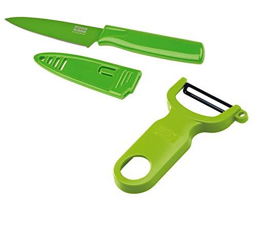 Kuhn Rikon Paring Colori Knife and Swiss Peeler Set of One Each, Green