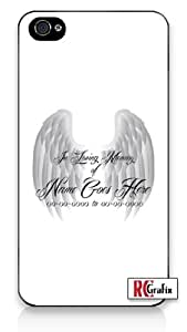 Custom DIY In Loving Memory Of Personalized Memorial with White Background iPhone 4 Quality Hard Snap On Case for iPhone 4 4S 4G - AT&T Sprint Verizon - Black Frame