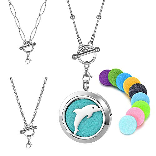 20 Inch Dolphin - Vocheng Dolphin Design Stainless Steel Aromatherapy Essential Oil Diffuser Necklace Locket Pendant Jewelry with 3pcs 20