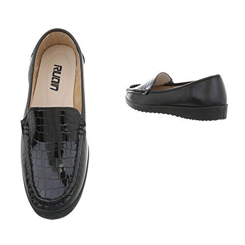 Damen Schuhe Mokassins Slipper Modell Nr.1Schwarz