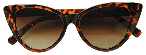 Sunglass Stop - Super Cateyes Vintage Inspired Fashion Mod Chic High Pointed Cat-Eye Sunglasses (Tortoise , Brown Gradient ) (Hipster Hello Kitty Costume)