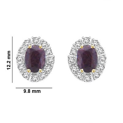 Libertini Boucle d'oreille argent 925 serti de Diamant et Améthyste